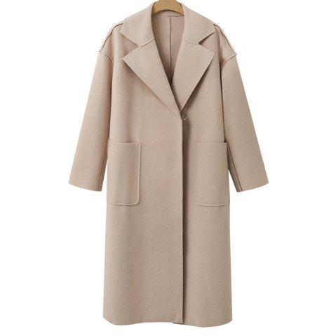 Discount Autumn and Winter Solid Cashmere Coat