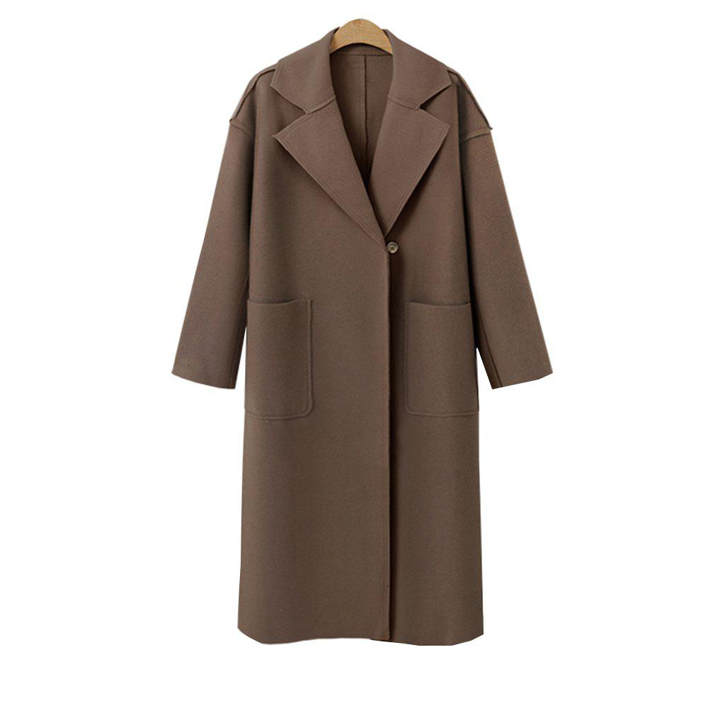 Trendy Autumn and Winter Solid Cashmere Coat