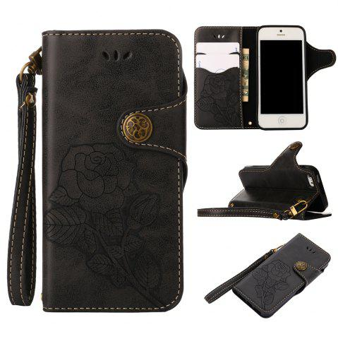 New Retro Rose PU Leather Magnetic Closure Flip Wallet Protective Case with Lanyard for iPhone SE/5S/5