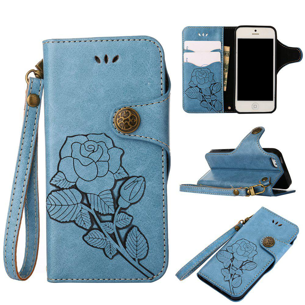Latest Retro Rose PU Leather Magnetic Closure Flip Wallet Protective Case with Lanyard for iPhone SE/5S/5