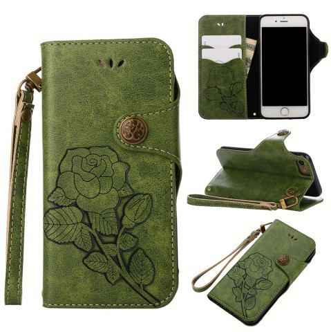 Fashion Retro Rose PU Leather Magnetic Closure Flip Wallet Protective Case with Lanyard for iPhone 6/6S