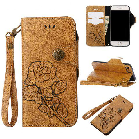 Hot Retro Rose PU Leather Magnetic Closure Flip Wallet Protective Case with Lanyard for iPhone 6/6S