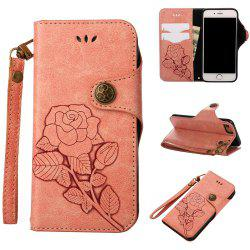 Retro Rose PU Leather Magnetic Closure Flip Wallet Protective Case with Lanyard for iPhone 6/6S -