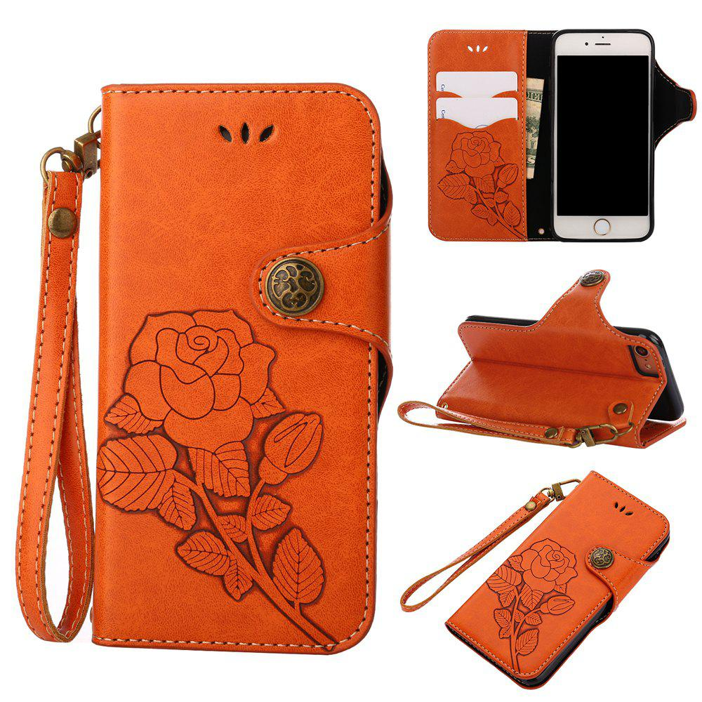 Unique Retro Rose PU Leather Magnetic Closure Flip Wallet Protective Case with Lanyard for iPhone 6/6S