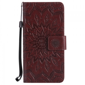 Sun Flower Printing Design Pu Leather Flip Wallet Lanyard Protective Case for Sony Xperia E5 -