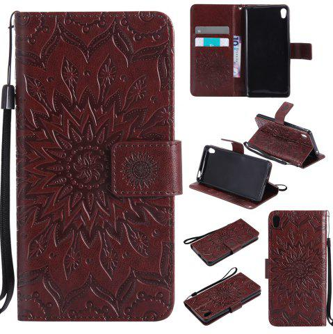 New Sun Flower Printing Design Pu Leather Flip Wallet Lanyard Protective Case for Sony Xperia E5