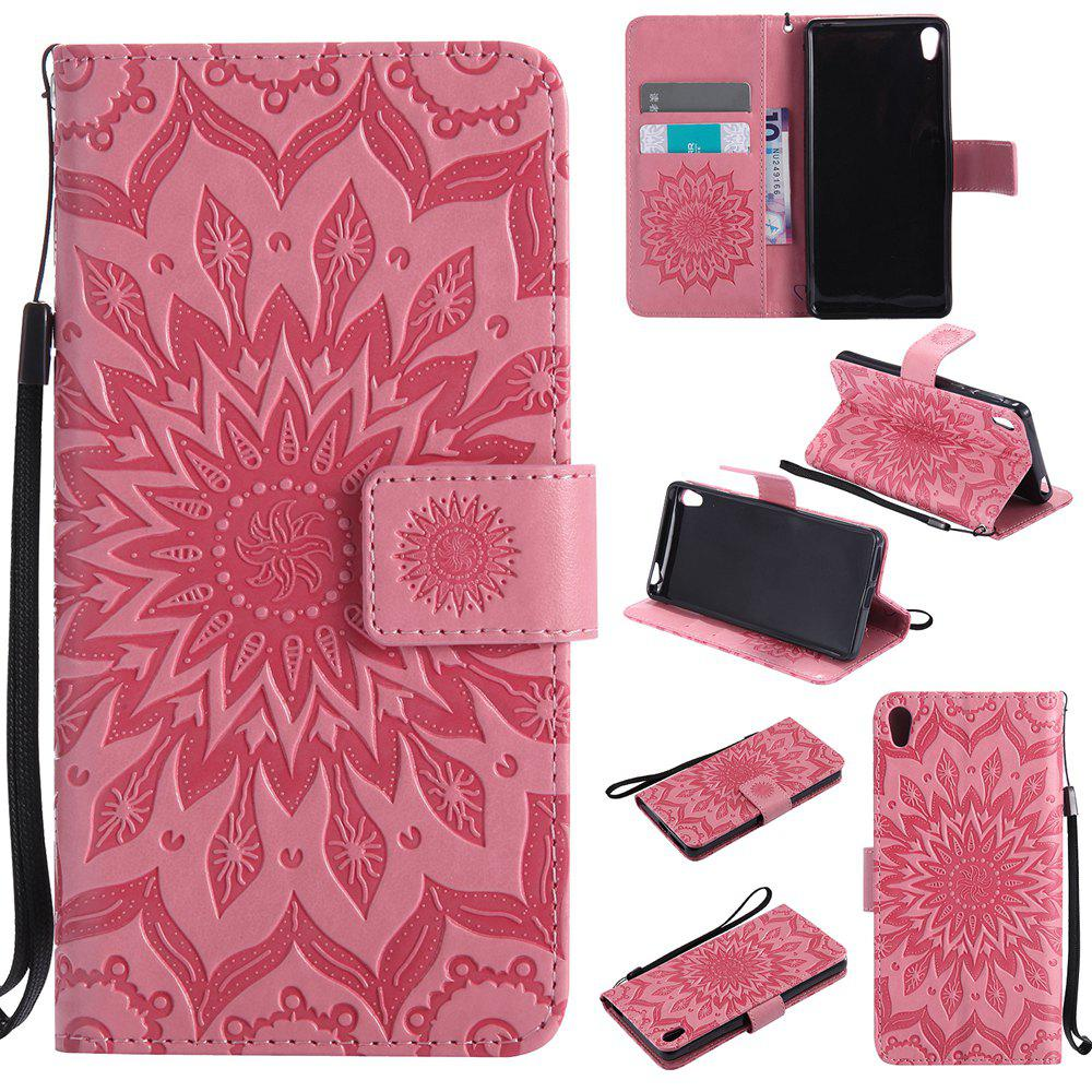 Cheap Sun Flower Printing Design Pu Leather Flip Wallet Lanyard Protective Case for Sony Xperia E5