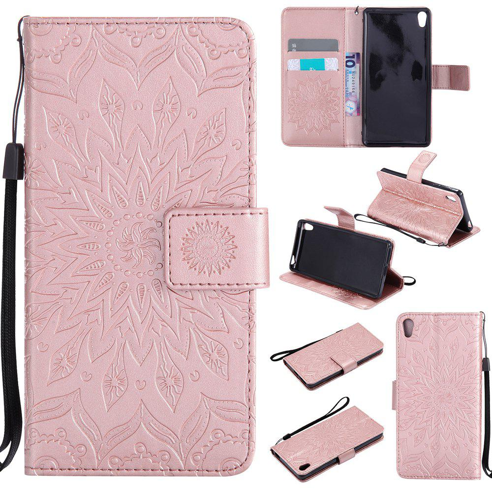 Discount Sun Flower Printing Design Pu Leather Flip Wallet Lanyard Protective Case for Sony Xperia E5