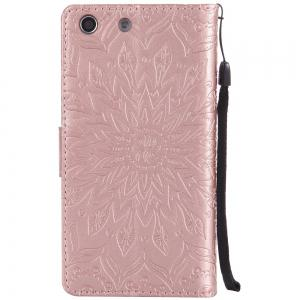 Sun Flower Printing Design Pu Leather Flip Wallet Lanyard Protective Case for Sony Xperia M5 -