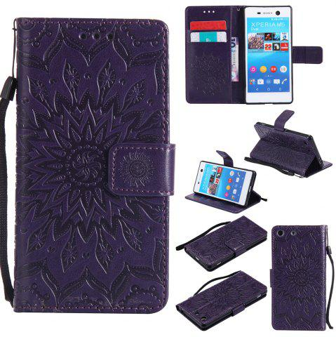 Sun Flower Printing Design Pu Leather Flip Wallet Lanyard Защитный чехол для Sony Xperia M5