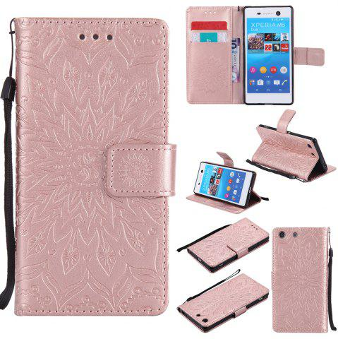 Cheap Sun Flower Printing Design Pu Leather Flip Wallet Lanyard Protective Case for Sony Xperia M5