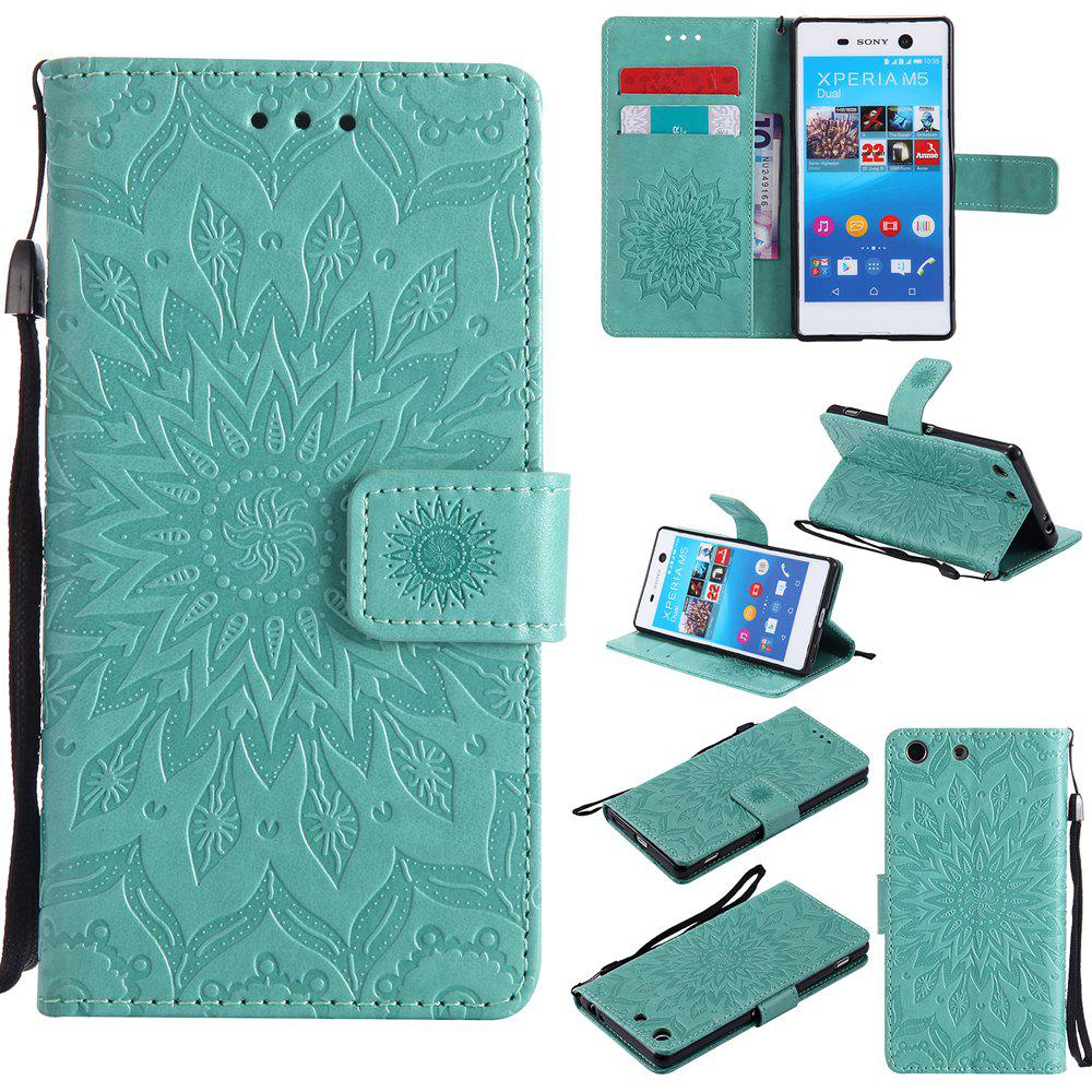 Latest Sun Flower Printing Design Pu Leather Flip Wallet Lanyard Protective Case for Sony Xperia M5