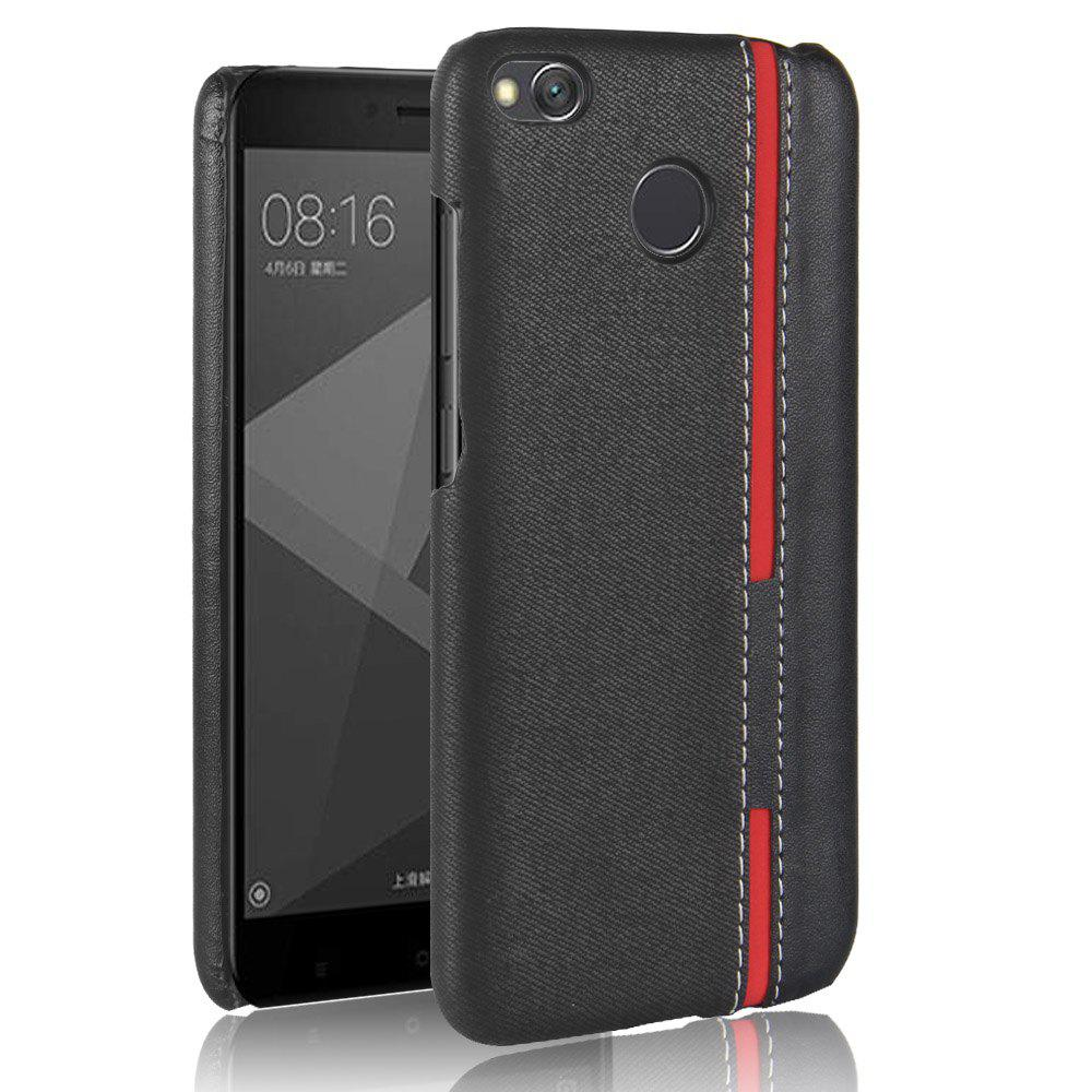 Mixed Colors Stripe Patchwork PU Leather+Plastic Hard Case for Xiaomi Redmi 4XHOME<br><br>Color: BLACK;