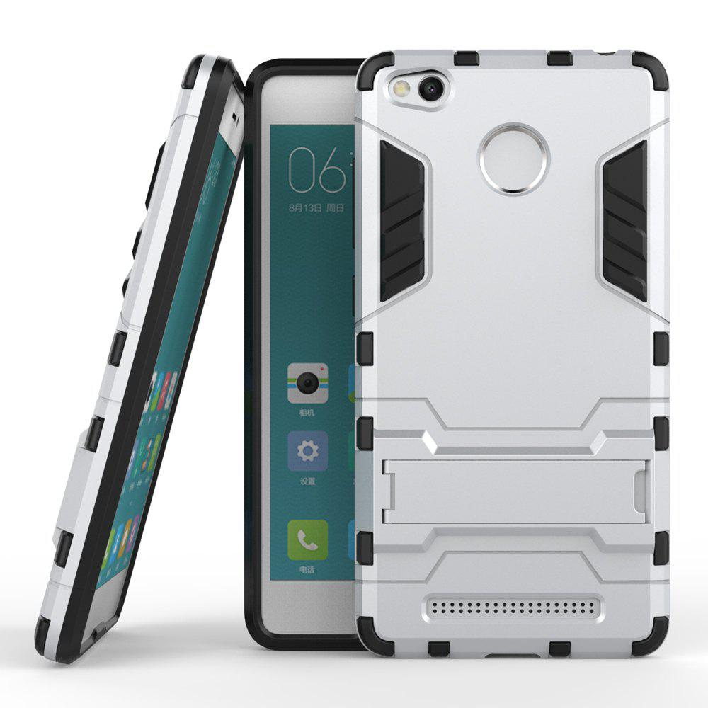 Dual Layer Armor Defender Shockproof Protective Hard Case With Stand for Xiaomi Redmi 3 Pro / 3SHOME<br><br>Color: SILVER;