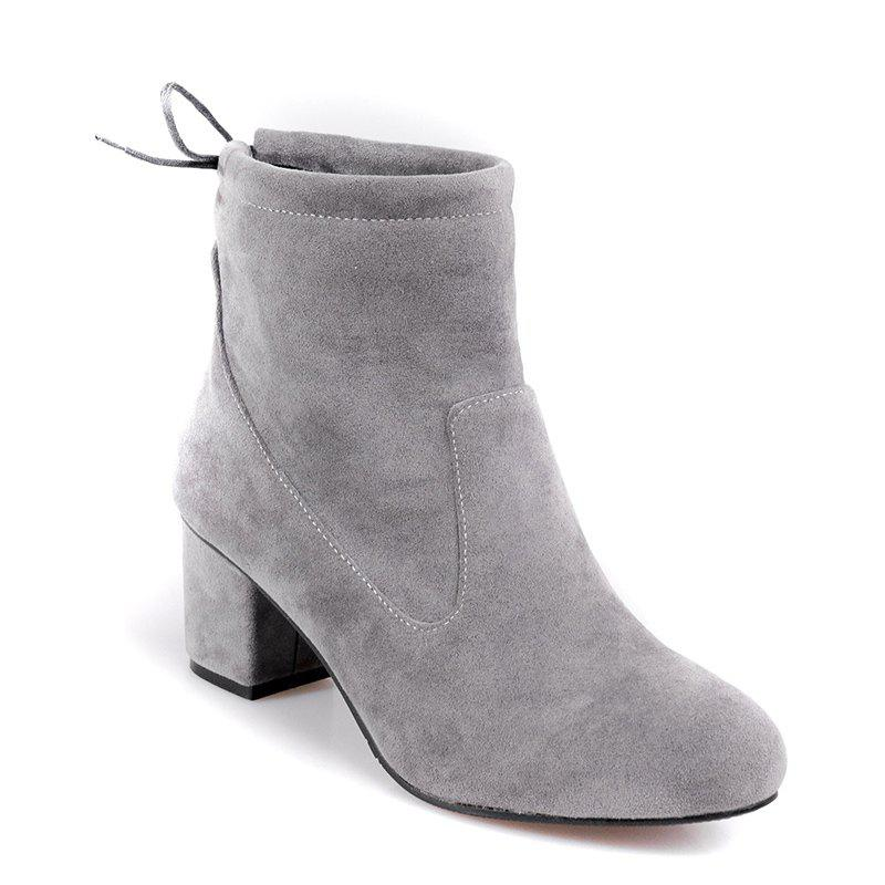 Unique Women's Shoes Fashion Boots Chunky Heel Round Toe Booties Lace-up Casual