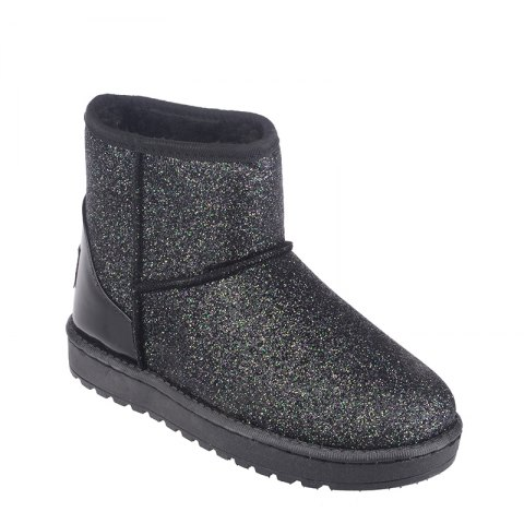 Unique New Fashion Sequins Low Cylinder Shoes Thickened In Winter Snow Boots Women