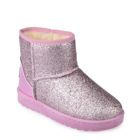 Buy New Fashion Sequins Low Cylinder Shoes Thickened In Winter Snow Boots Women