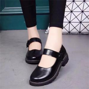 YQ-WA275 Round Low Heel Shallow Mouth Retro Doll Word Buckle Grandma Shoes -