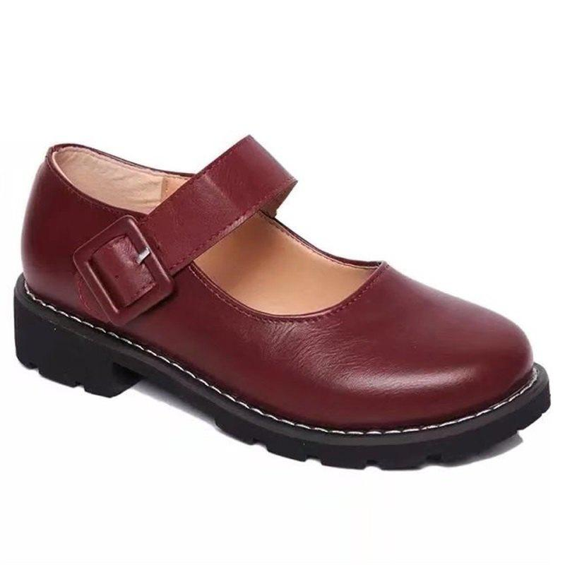 Best YQ-WA275 Round Low Heel Shallow Mouth Retro Doll Word Buckle Grandma Shoes