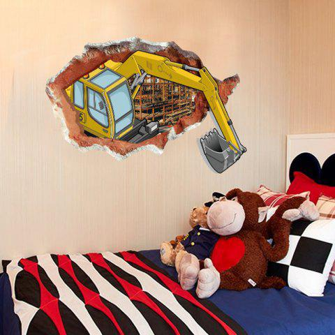 Unique DSU Abstract Amazing 3D Effect Excavator Wall Stickers Creative Home  DIY Decor Painting Child