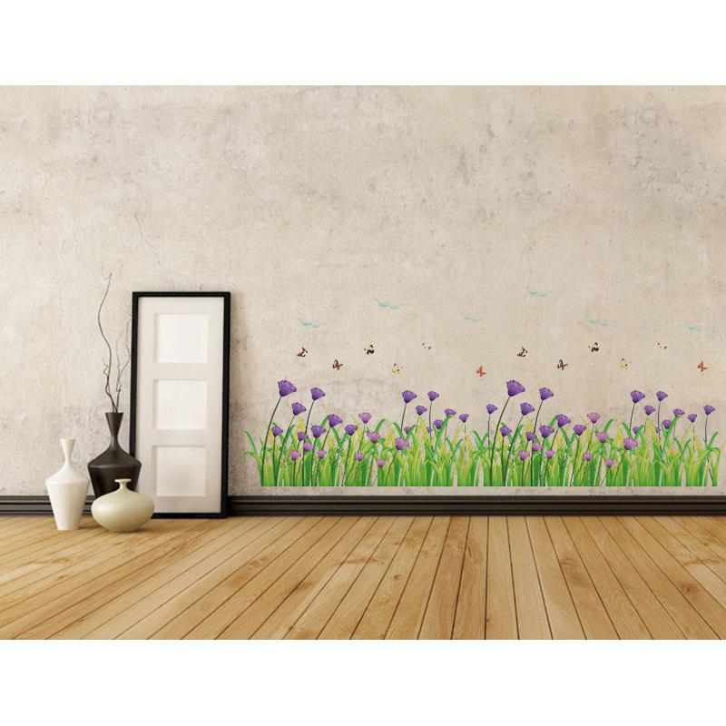 2018 Dsu Warm Romantic Purple Flowers Skirting Line Wall Stickers