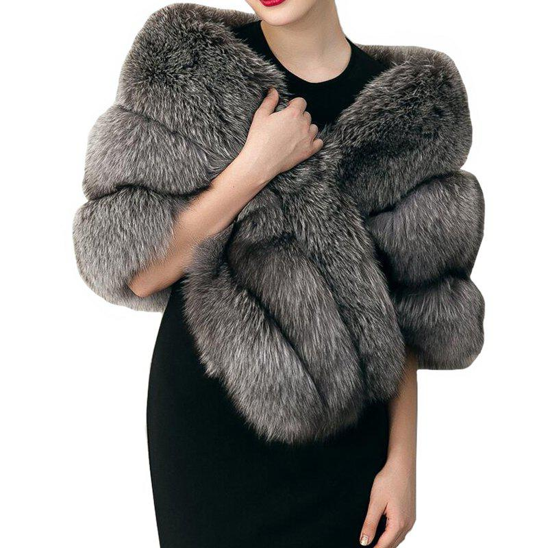 Womens  Sleeveless Faux Fur GrayWOMEN<br><br>Size: ONE SIZE; Color: OYSTER;