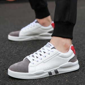 Men Casual Fashion Leather Flat Canvas Shoes Size 39-44 -
