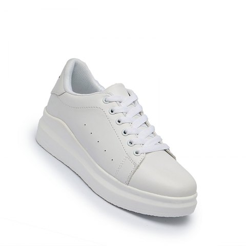 Discount Women Sport Thick Bottom Increased Girls Plus Size Platform Classic White Outdoor Sneakers