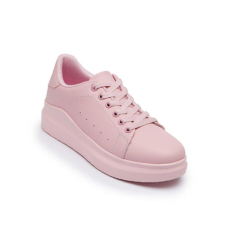 Hot Women Sport Thick Bottom Increased Girls Plus Size Platform Classic White Outdoor Sneakers