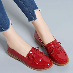 Women Platform Shoes Butterfly Knot Flats Slip on PU Leather Comfortable Round Toe Loafers -