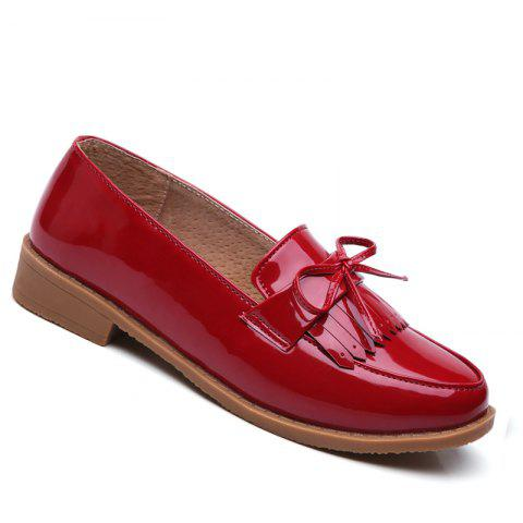 Trendy Women Platform Shoes Butterfly Knot Flats Slip on PU Leather Comfortable Round Toe Loafers