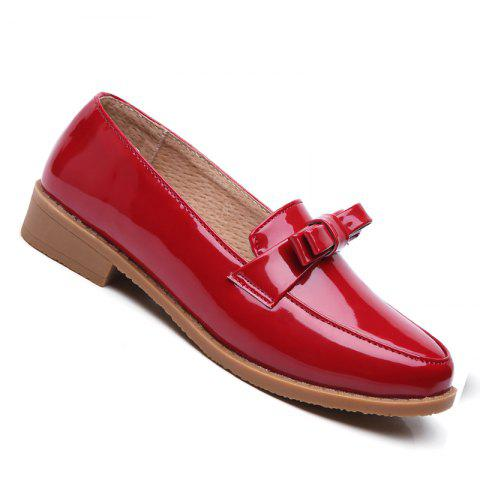 Shop Women Platform Shoes Butterfly Knot Flats Slip on PU Leather Comfortable Round Toe Loafers