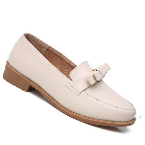 Store Women Platform Shoes Butterfly Knot Flats Slip on PU Leather Comfortable Round Toe Loafers