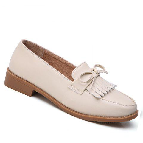 Hot Women Platform Shoes Butterfly Knot Flats Slip on PU Leather Comfortable Round Toe Loafers