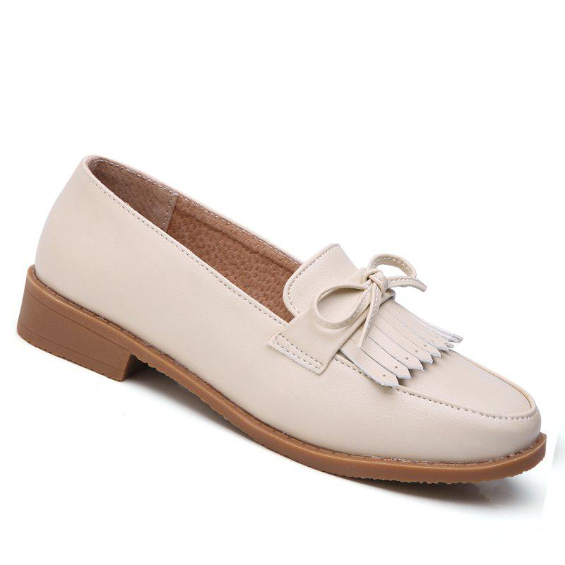 New Women Platform Shoes Butterfly Knot Flats Slip on PU Leather Comfortable Round Toe Loafers