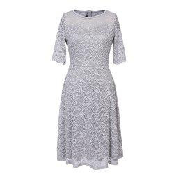 Summer New Style Lace Sheer  Summer Sexy Party Half Sleeve Women A-Line Dress -