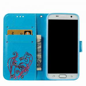 Embossing Colorful Daffodils PU Phone Case for Samsung Galaxy  S7 Edge -