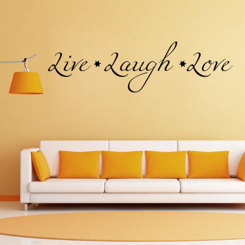 DSU Love Live Laugh English Quote Simple Art Wall StickerHOME<br><br>Size: 58 X 16CM; Color: BLACK; Brand: DSU; Type: Plane Wall Sticker; Subjects: Fashion,Letter; Art Style: Plane Wall Stickers; Sizes: Others; Color Scheme: Black; Function: Decorative Wall Sticker; Material: Vinyl(PVC); Suitable Space: Bedroom,Cafes,Dining Room,Game Room,Hotel,Kids Room,Living Room,Office,Study Room / Office; Layout Size (L x W): 58 x 16cm; Effect Size (L x W): 58 x 16cm; Quantity: 1;