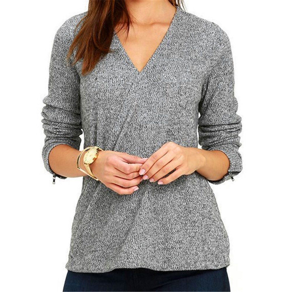 The New  V neck Long Sleeve T-shirtWOMEN<br><br>Size: L; Color: OYSTER;