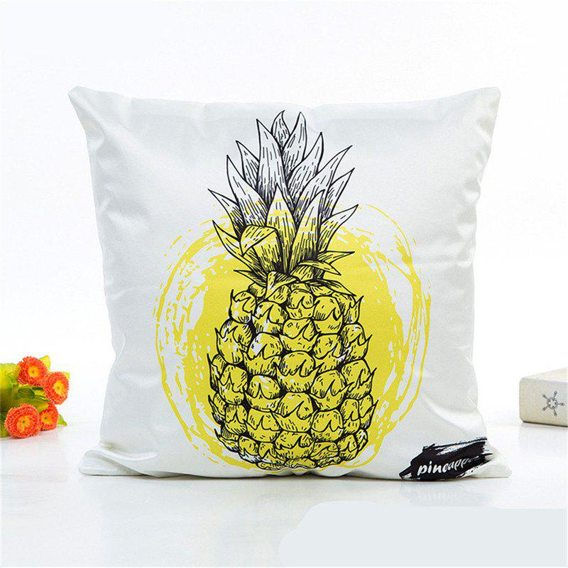 Soft Fresh Pineapple Pattern Decorative Pillow Case 1PCHOME<br><br>Color: YELLOW; Category: Pillow Case; Material: Others; For: All; Occasion: Bedroom,Living Room,Office;