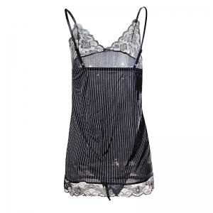 Sexy V-neck Lace Striped Halter with Pajamas -