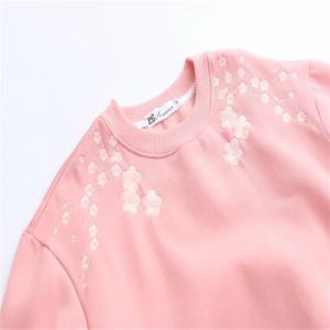 Pink Lady Plum Embroidery with Velvet Hoodie -