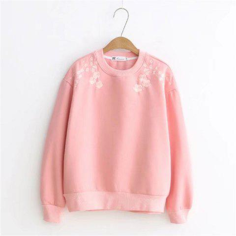 Outfit Pink Lady Plum Embroidery with Velvet Hoodie