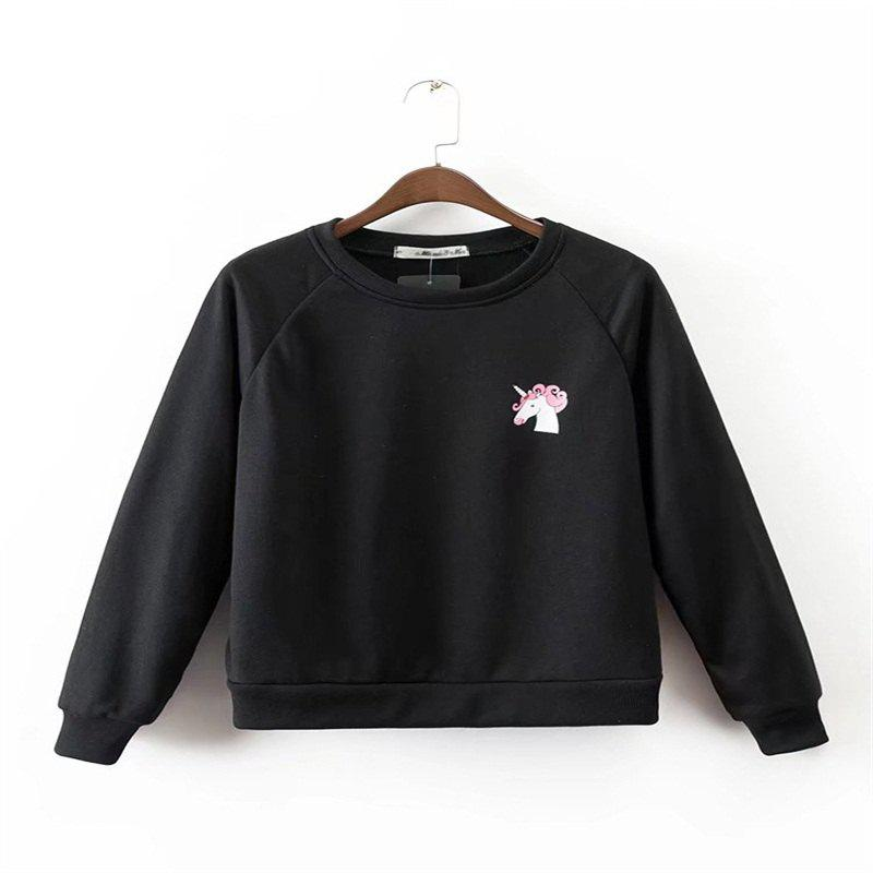 Trendy 2017 New Ladies' Black Unicorn Print Hoodie