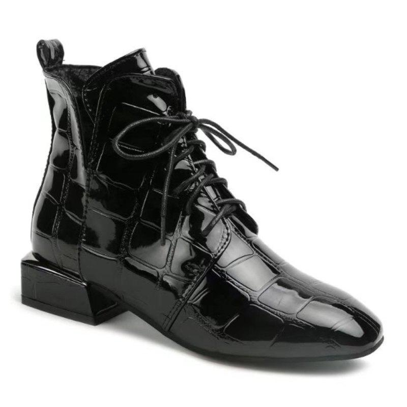 Fashion Europe and The United States Autumn and Winter New Patent Leather Boots