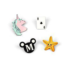 2017 New Animal Cartoon Brooch 4 Pieces of Jewelry -