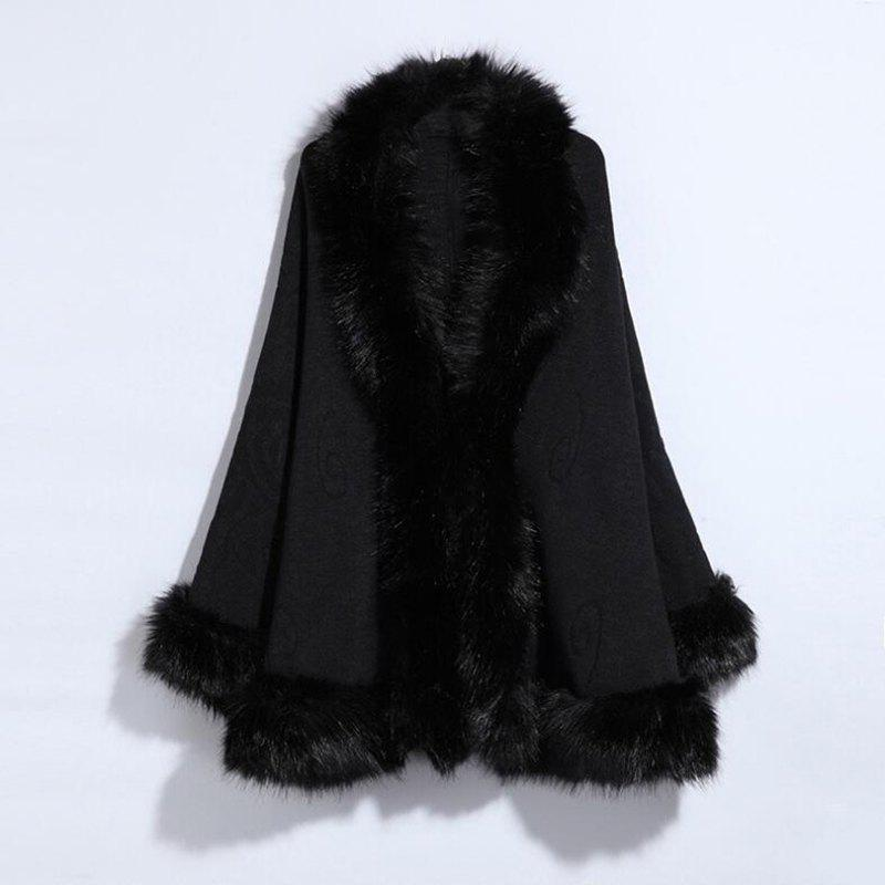 Womens Fashion Faux Fur MulticolorWOMEN<br><br>Size: ONE SIZE; Color: BLACK;