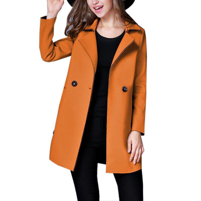 Womens  Lapel Collar Trench Coat Long Sleeve Solid ColorWOMEN<br><br>Size: S; Color: CAMEL;
