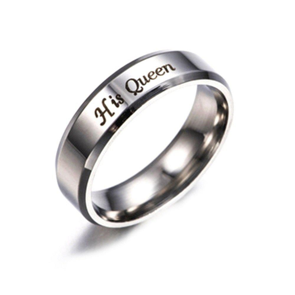Her King His Queen Titanium Steel Couple RingJEWELRY<br><br>Size: 7; Color: SILVER; Gender: For Lovers; Item Type: Wedding Bands; Metal Type: titanium steel; Ring Size (US Size): 10,11,12,13,6,7,8,9; Occasion: Engagement; Style: Romantic; Package weight: 0.0053 kg; Package size (L x W x H): 13.00 x 11.00 x 1.00 cm / 5.12 x 4.33 x 0.39 inches; Package Content: 1 x Ring;