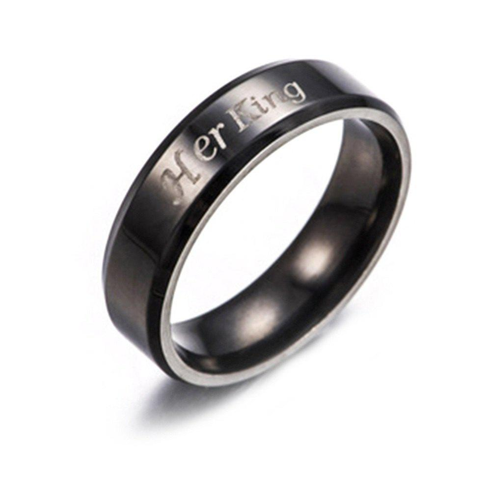 Her King His Queen Titanium Steel Couple RingJEWELRY<br><br>Size: 9; Color: BLACK; Gender: For Lovers; Item Type: Wedding Bands; Metal Type: titanium steel; Ring Size (US Size): 10,11,12,13,6,7,8,9; Occasion: Engagement; Style: Romantic; Package weight: 0.0053 kg; Package size (L x W x H): 13.00 x 11.00 x 1.00 cm / 5.12 x 4.33 x 0.39 inches; Package Content: 1 x Ring;